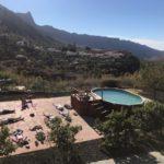 yoga next to the pool