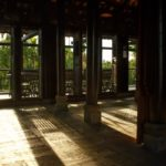 The 'Meditation Space' at sunset with daylight streaming through the shutters.